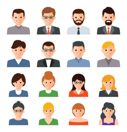 vector set of people icons. business person flat illustration. man and woman symbols. people avatar collection isolated on white background