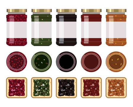 vector glass jam jars with strawberry, blueberry, apricot, apple, cherry, kiwi, orange and raspberry. front and top view. white toast bread slices with fruit jam. food icons. eps10 illustration Imagens - 126439790