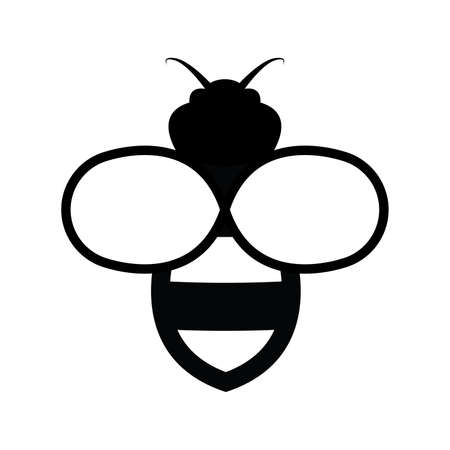 Bee icon isolated on white Illustration