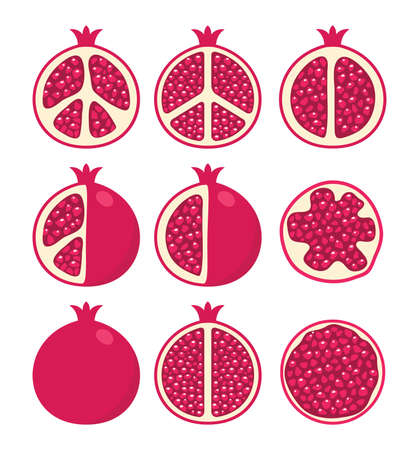 vector set of stylized pomegranate cuts and whole pomegranates, vegetarian diet icons