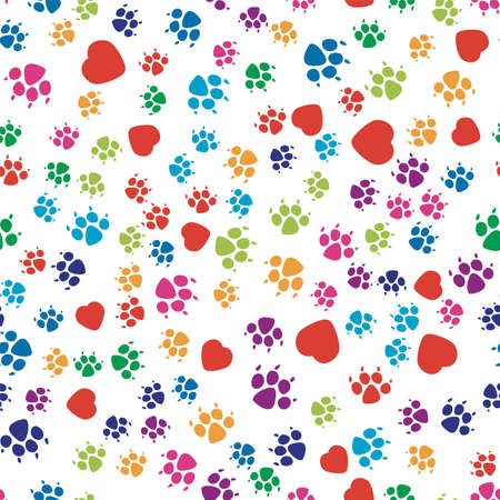 vector seamless dog pattern. colorful dog footprint and red heart symbols on white background