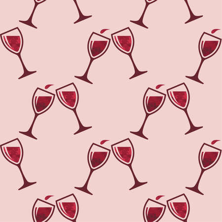 vector red wine glass splash seamless pattern. two wineglasses full of red wine for celebration seamless backgrounds Imagens - 126439794