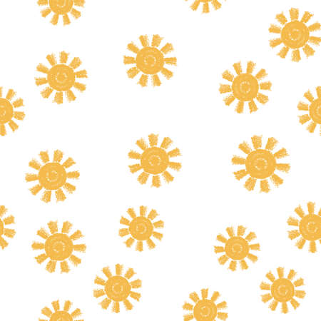 vector seamless sun pattern. abstract illustration, flat graphic style. yellow sun symbols isolated on white background Imagens - 126439796