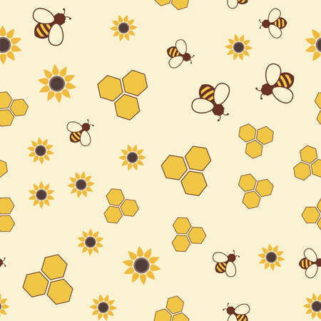 vector seamless pattern with bee, honeycomb and flower symbols. colorful seamless background with honeybees, honeycells and sunflowers Ilustração