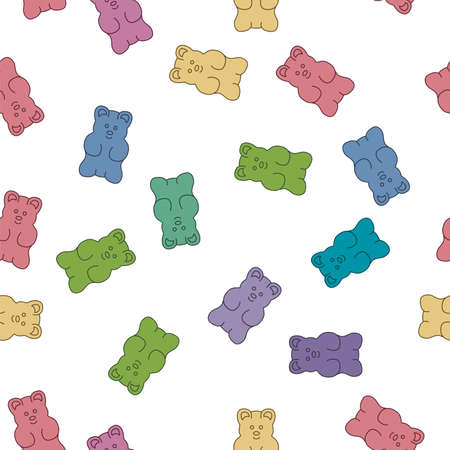vector gummy bear candies seamless background isolated on white background. simple gummy bear clipart drawing Imagens - 126439799