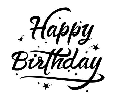 vector black and white happy birthday text. greeting card lettering design. birthday background illustration typography. wishing happy birthday handwritten text