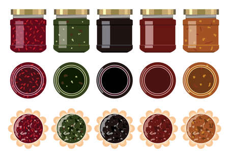vector small glass jam jars with strawberry, blueberry, apricot, apple, cherry, kiwi, orange and raspberry jam. front and top view. pies with fruit jam. food icons. eps10 illustration