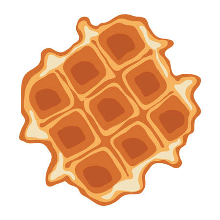 vector breakfast waffle isolated on white background. abstract belgium waffle as sweet delicious food concept. top view