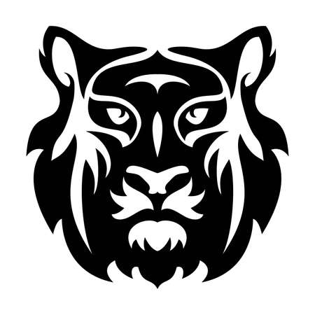 Stylized face of a tiger. abstract black and white graphic design of tiger head