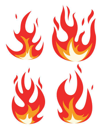 vector collection of fire icons. bonfire flame drawing design isolated on white background. colorful fire flame symbols