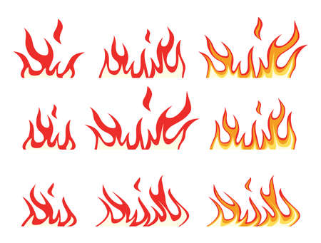 vector collection of fire icons. bonfire flame drawing design isolated on white background. colorful fire flame symbols Imagens - 125570342