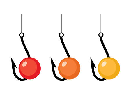 vector fishing hooks and red, orange and yellow baits isolated on white.background. fish bait and hook icons