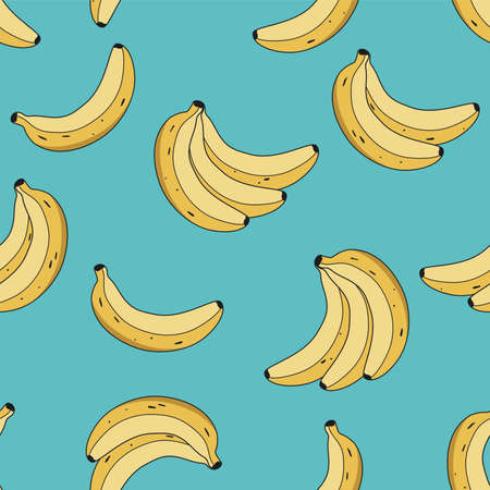 vector seamless pattern with yellow bananas on blue background. food illustration of fresh tropical banana fruits for seamless summer patterns