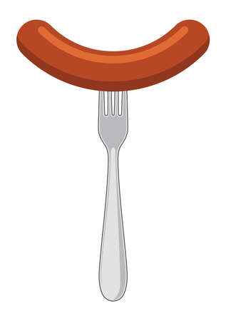 Sausage and fork icon isolated on white Illusztráció