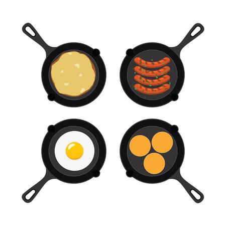 vector set of pans with small pancakes, fried egg, omelet and grilled sausages. collection of breakfast, dinner and supper flat icons isolated on white background Иллюстрация