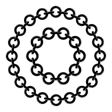 Black and white metal chain borders.