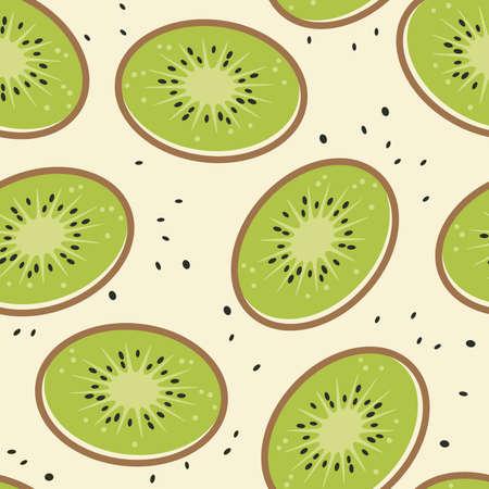 vector kiwi fruit seamless background pattern. random kiwi fruit slices and kiwi fruit seeds