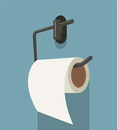 vector white toilet paper roll and metal holder. hygiene icon of clean toilet paper in bathroom Illustration