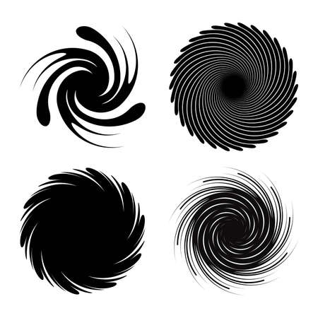 vector set of radial spiral bursts. black star spiral explosion isolated on white background. radial sun motion burst graphic design Illusztráció