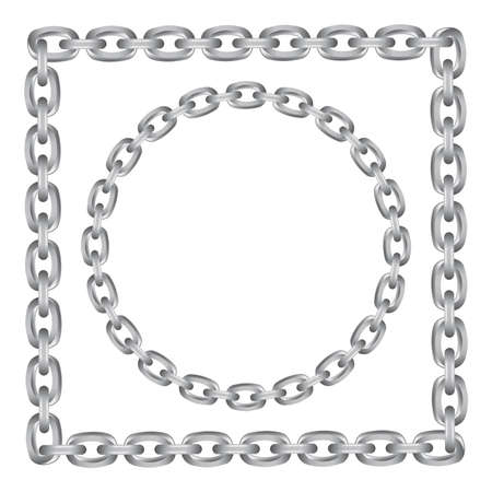 Metal chain round and square borders isolated on white Illusztráció