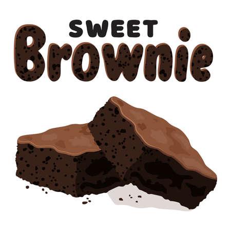 Vektor-Schokoladen-Brownies isoliert auf weißem Hintergrund. zwei Brownie-Kuchenstücke als hausgemachte Dessert-Essensillustration Vektorgrafik