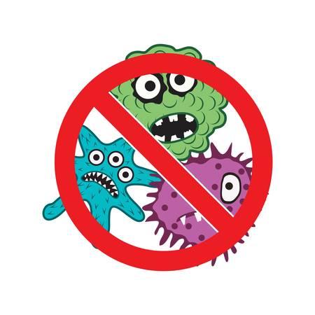 Stop bacteria icon isolated on white Standard-Bild - 118443358