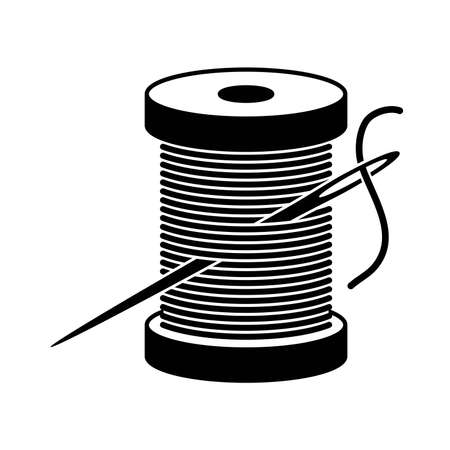 vector black and white spool icon with sewing needle and thread isolated on white background. needlework craft symbols. spool and needle sewing illustration Banco de Imagens - 124987927