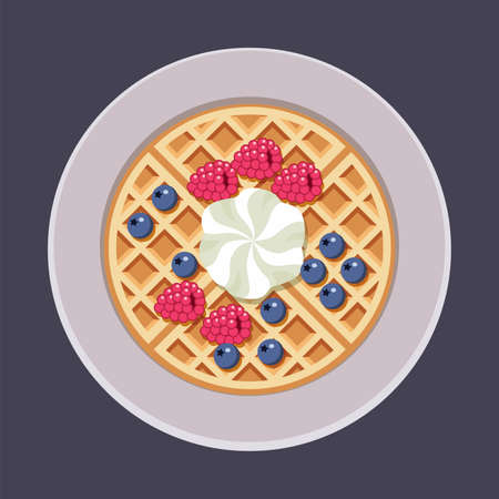 vector belgian waffles on plate with ice cream and colorful berries isolated on white background. breakfast homemade waffle with cream, blueberry and raspberry as sweet dessert food. top view, eps10 Illustration