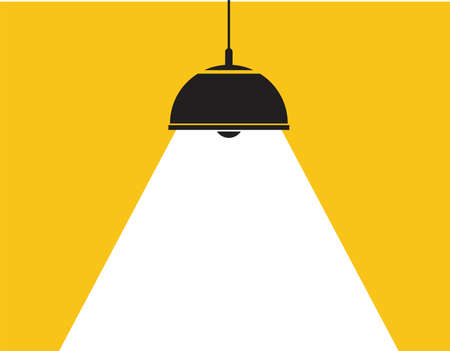vector ceiling lamp. white light background as spotlight. graphic design of modern hanging electric lamp