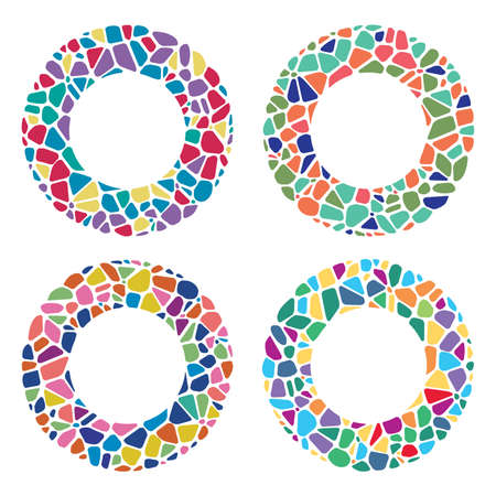 Set of abstract colorful mosaic round patterns isolated on white Illusztráció