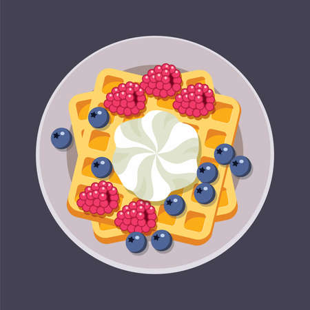 vector belgian waffles on plate with ice cream and colorful berries isolated on white background. breakfast homemade waffle with cream, blueberry and raspberry as sweet dessert food. top view, eps10 Illusztráció