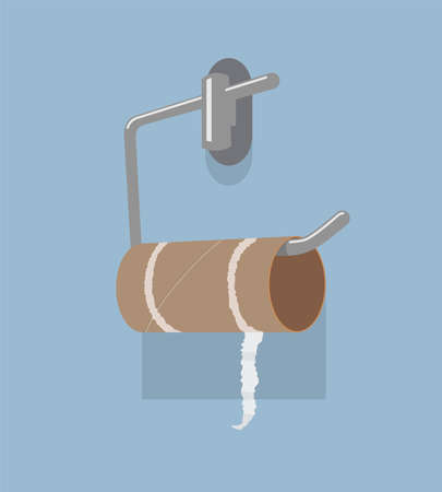 vector empty toilet paper roll and metal holder. hygiene icon of no clean toilet paper in bathroom Ilustração