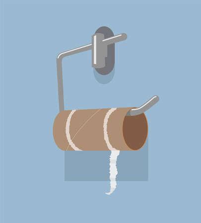vector lege wc-papierrol en metalen houder. hygiënepictogram van geen schoon toiletpapier in de badkamer