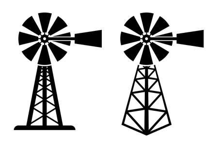 Vektor-Schwarz-Weiß-Symbole der ländlichen Windpumpe. Silhouette der Windmühle auf dem Bauernhof. Windpumpensymbole isoliert auf weißem Hintergrund