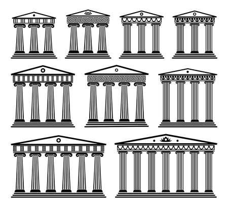 Antike griechische Architektur mit Säulen.