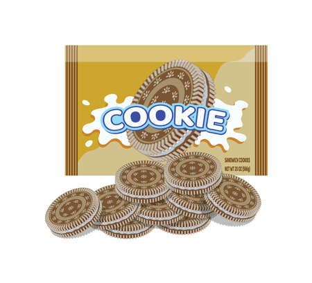 Golden  cookie package and group of  cookies isolated on white
