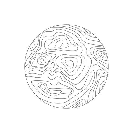 vector abstract circular map pattern with wavy lines. black and white topographic line contours. simple round map design