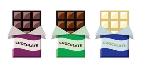 vector collection of opened dark chocolate, milk chocolate and white chocolate bars in foil wrapper eps10 illustration