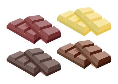 Collection of dark chocolate, milk chocolate and white chocolate bars isolated on white Illusztráció
