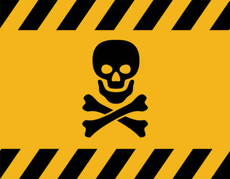 Poison danger sign with skull and crossed  bones.