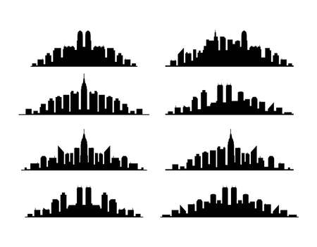 vector set of black and white city or town skyline graphic. city contours of buildings. urban backgrounds