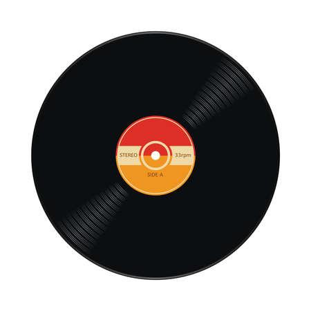 vector music retro vinyl record flat icon. retro symbol of plastic record isolated on white background