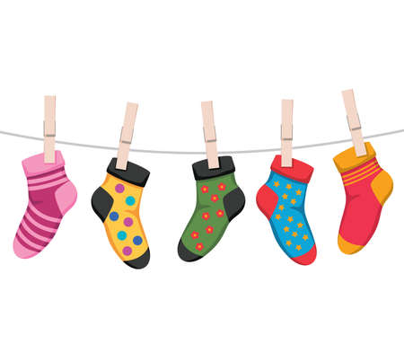 vector socks isolated on white background. cotton or wool sock design for laundry background illustrations. colorful socks symbols