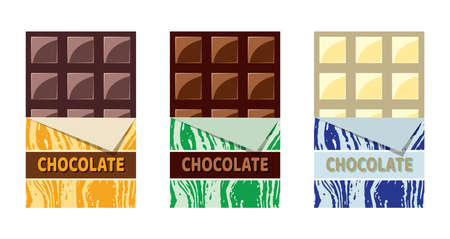 vector collection of opened dark chocolate, milk chocolate and white chocolate bars with a piece of chocolate bar in foil wrapper eps10 illustration Illusztráció