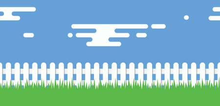 vector seamless background of white picket fence boundary, green grass, blue sky and clouds. rural illustration with wooden picket fence Ilustrace