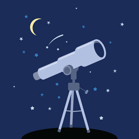 Telescope icon. astronomy instrument for science discovery.