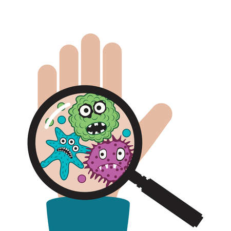 vector hand with germs and bacteria isolated on white background.. magnifying glass shows dirty human palm with virus and germ symbols. medical illustration of hygiene care for health protection. call to wash hands