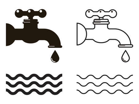 vector water tap icons isolated on white background. symbol of water drop from the tap. leaky water faucet illustration