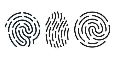 Set of fingerprint icons isolated on white