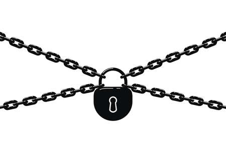 Black metal chain and padlock isolated on white